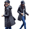 2016 New Warm Winter Women Jacket  Coat Thin Down Cotton Parka Ultra-light Cotton-padded Jacket Long Elegant Lady Outwear B735