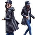 2016 New Warm Winter Women Jacket  Coat Thin Down Cotton Parka Ultra-light Cotton-padded Jacket Long Elegant Lady Outwear B735