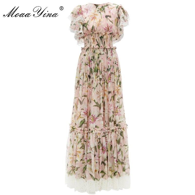 MoaaYina Fashion Designer Runway dress Spring Summer Women Pink Silk Dress Lace lily Floral Print Elastic
