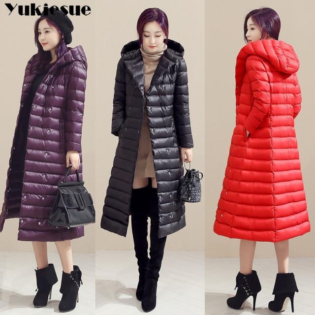 2018 Весна Плюс Размер 3XL длинные женские куртки ультра легкие 90% утиный пух пальто Зимняя толстовка куртка-пуховик женские парки