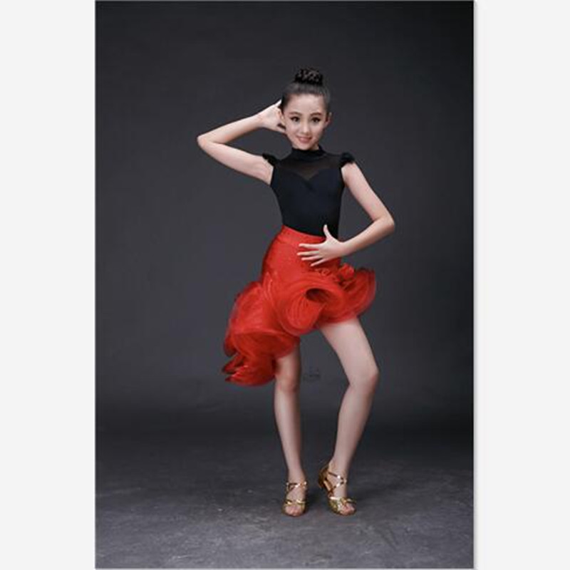 High Grade Ice Silk Elegant Slim Children Girls Latin Dance Dress Gorgeous Sequined Red Ruched Classic Black Kid Girl Dance Wear new girl latin dance dress children latin dance clothes children practice uniforms costumes girls adult costumes
