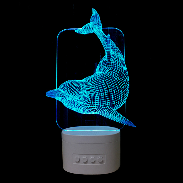 High quality 3D Dolphins Night Lights Bluetooth Speaker Music Lamp 5 colors Changing  Bedroom Decorations lights Creative Gifts