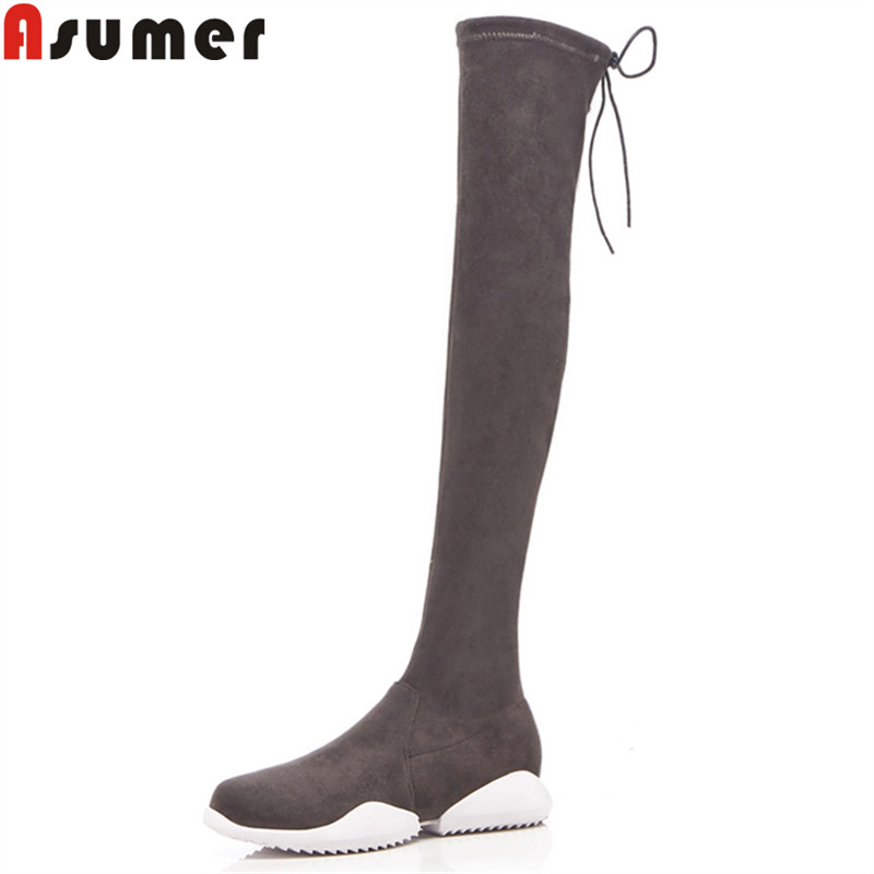 ASUMER 2018 fashion over the knee boots round toe zip flat with faux suede boots cross tied thigh high boots elegant lady shoes double criss cross bandages faux suede skirt