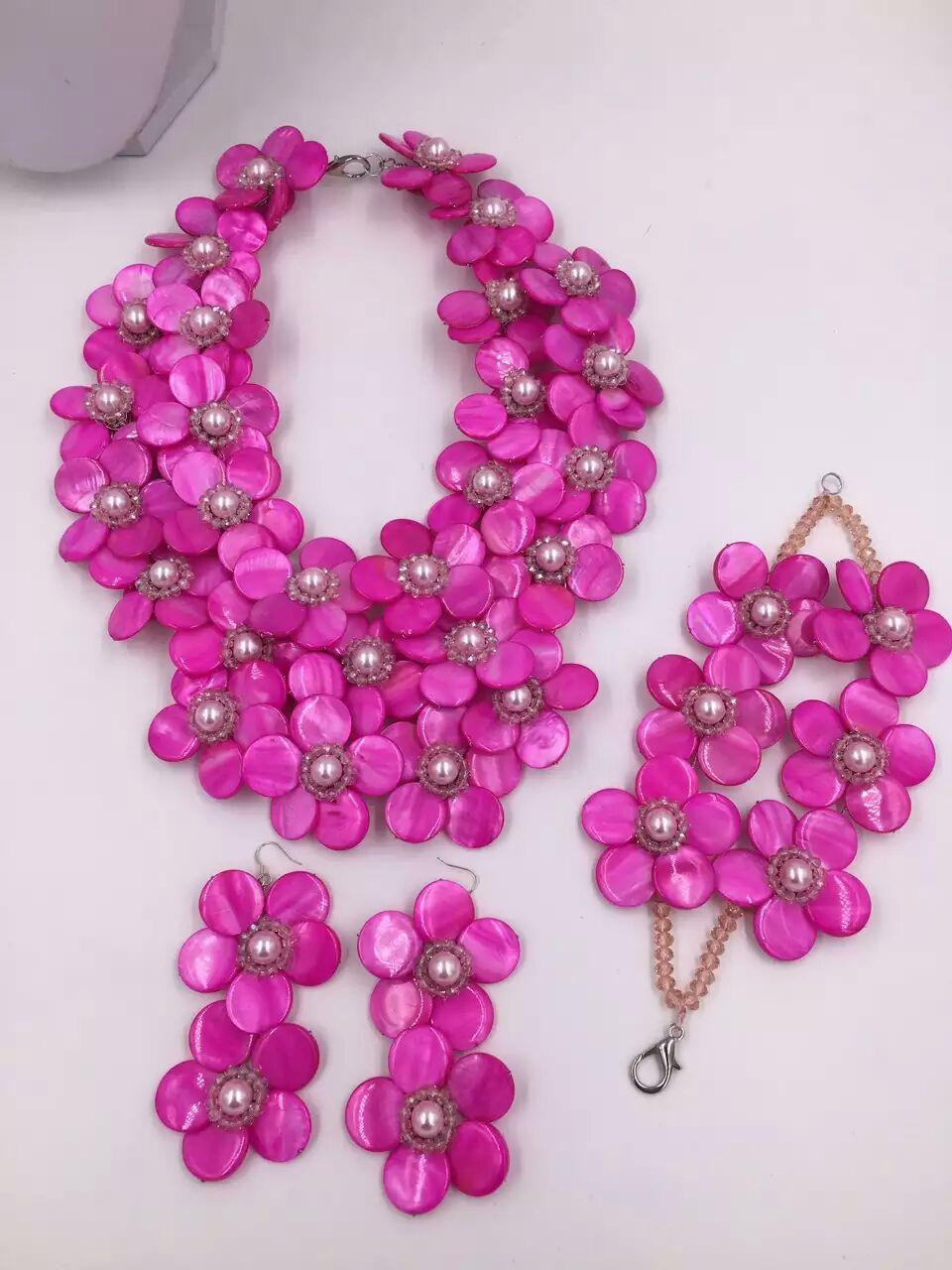 Lila rot shell und blume perlen halskette 19-20 zoll weholesale perlen geschenk FPPJ