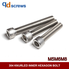 304 M5M6M8 Hexagon socket cap screws knurled inner hexagon stainless steel bolt DIN912 GB70.1