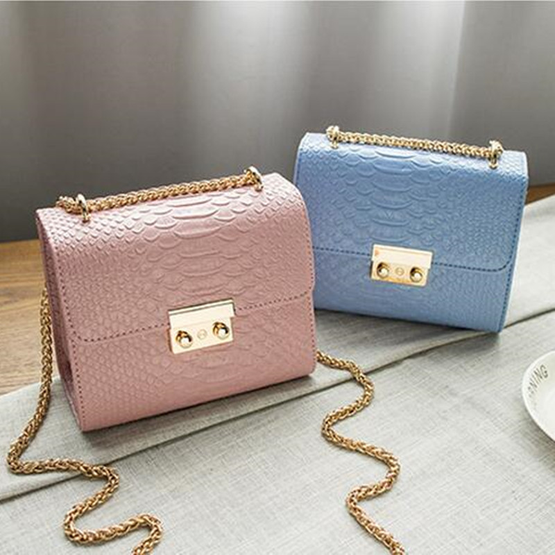 COOL WALKER Alligator Crocodile Leather Mini Small Women Crossbody bag chain women's handbag messenger shoulder bag with Pink yuanyu 2018 new hot free shipping import crocodile women chain bag fashion leather single shoulder bag small dinner packages