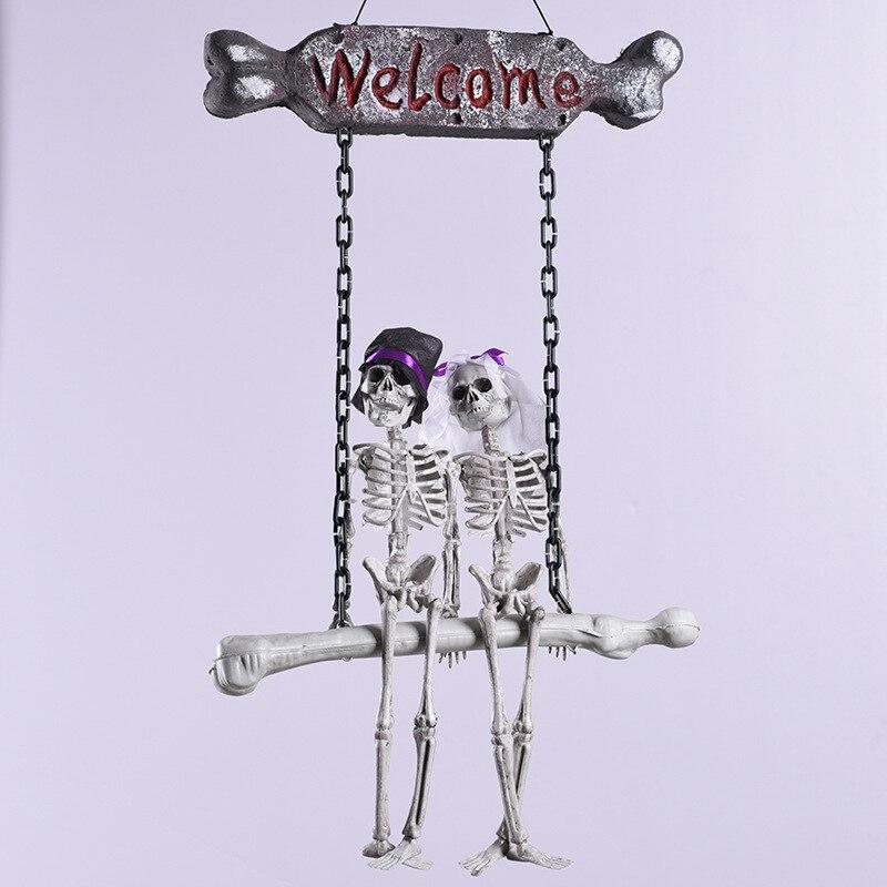 Assustador dia das bruxas pendurado crânio esqueleto fantasma noivo noiva sinal de boas-vindas brinquedo complicado horror casa assombrada escapar halloween prop
