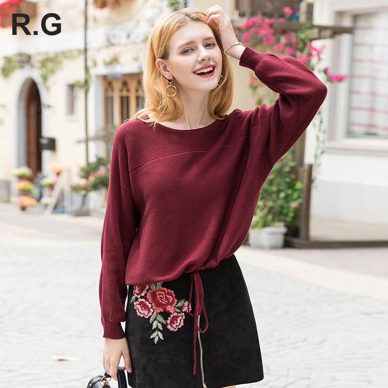 Rétro décontracté femmes vin rouge chandails et pulls o-cou court pull femmes fille befree pull automne/hiver invierno 2018