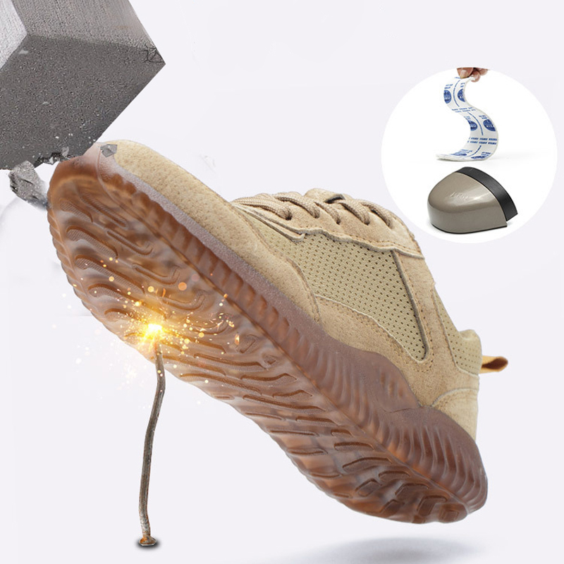 Mens Steel Toe Cap Work Safety Boots Outdoor Breathable Shoes Man Anti-Smashing Puncture Proof Anti-static Protective Shoes