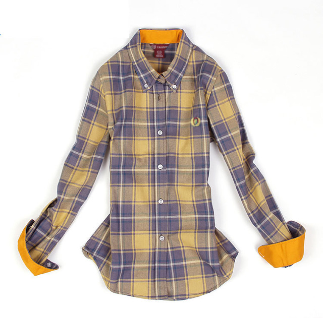 a558ce1b Long Sleeve Slim-Fit Cotton Plaid Button Down Shirt Womens  Red,Yellow,Blue,Grey for Spring and Autumn M,L,XL,XXL
