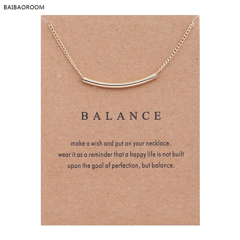 New Gold-color Balance Tube Bar Word Long Alloy Pendant Short Necklace