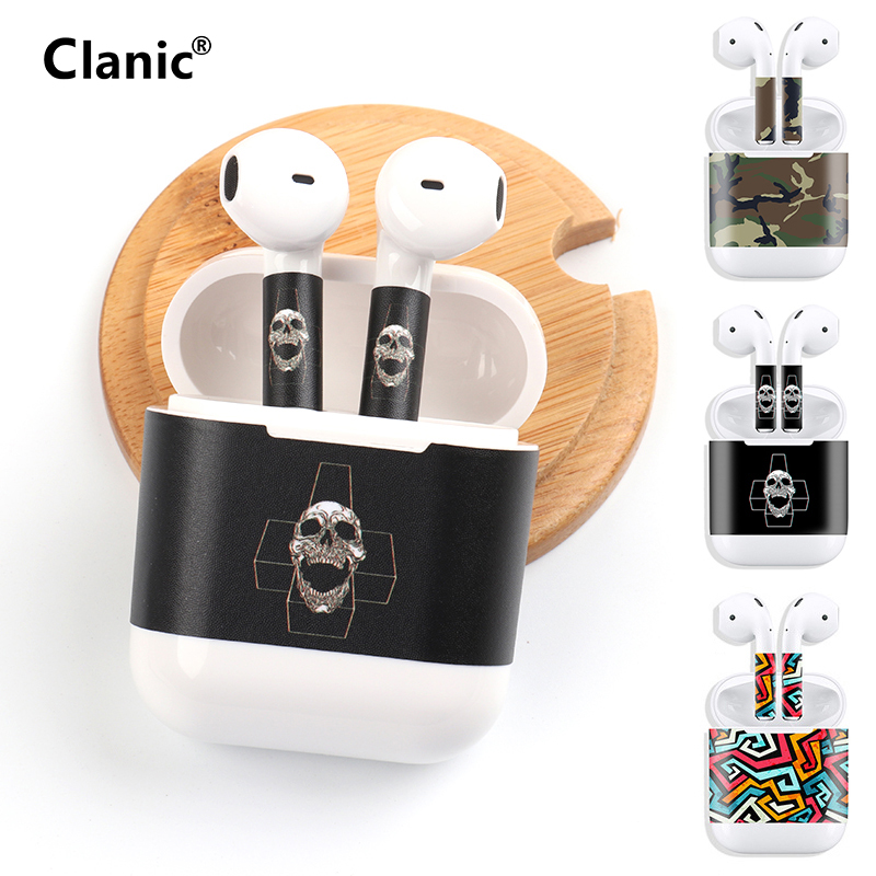Hip hop graffiti skull cartoon sticker for apple airpods accessories for air pods case cover anime cute cat Military camouflage