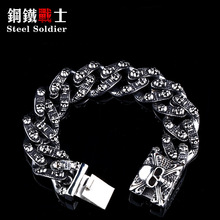Steel soldier men punk skull stainless steel bracelet hip hop biker 316l titanium steel heavy chain jewelry for party gift