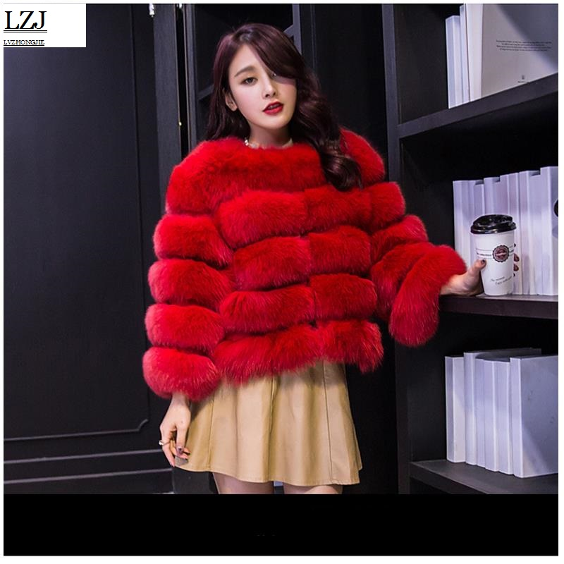 LZJ 2017 new autumn and winter winter coat fur coat fox fur imitation fur coat shearing womens jacket elegant fashion luxury