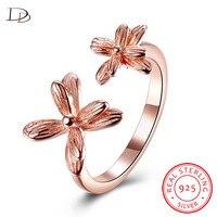 دودو شيك الزهور مزدوجة مفتوحة خاتم ذهبي/فضي اللون 925 الاسترليني والفضة والمجوهرات الزفاف anris kpop بيجو DR090