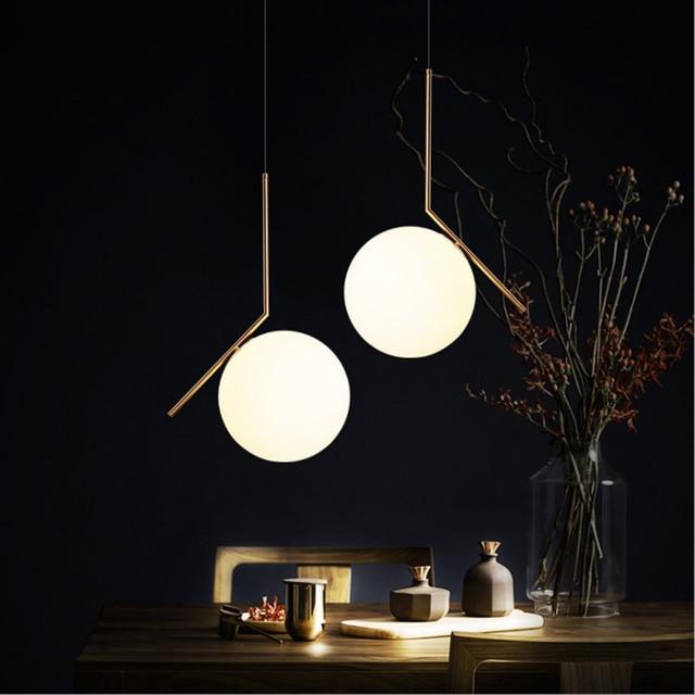 220v 110v Nordic Modern Design Glass Ball Gold Hanging Pendant Lamp Light for Living Room Loft Decor Kitchen Dining Room Bedroom
