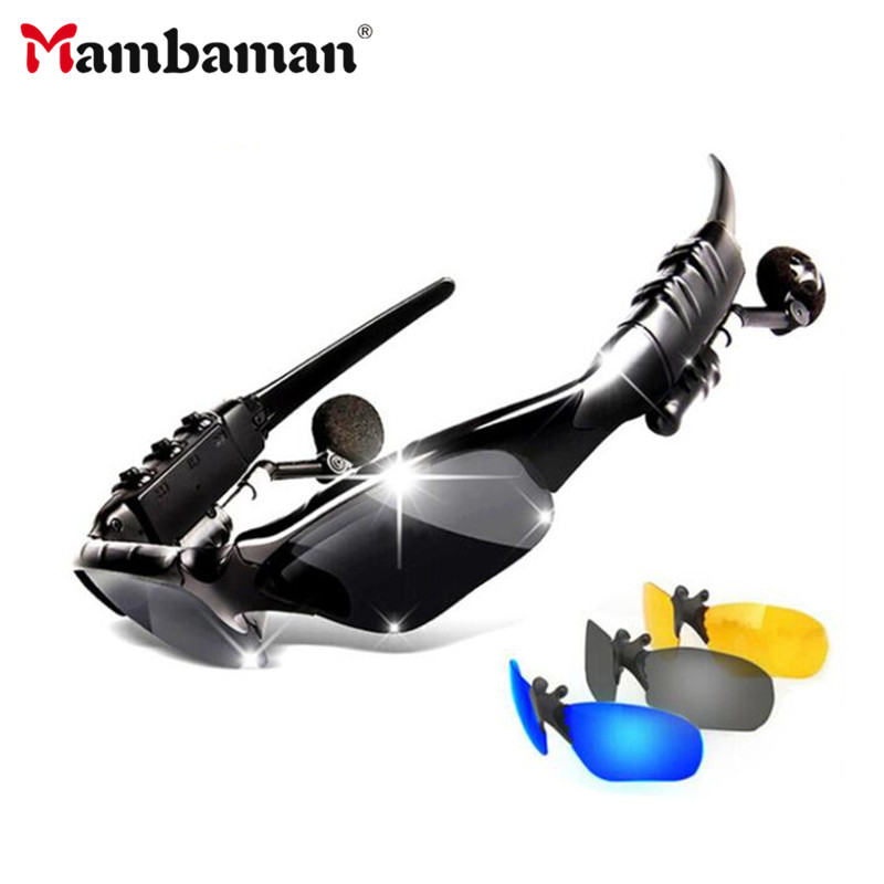 Mambaman Bluetooth Sun glasses Headset Outdoor Glass Earbuds Music with Mic Stereo Wireless Headphone for iPhone Samsung xiaomi topeak outdoor sports cycling photochromic sun glasses bicycle sunglasses mtb nxt lenses glasses eyewear goggles 3 colors