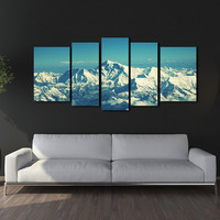 Mount Everest Snow Mountain Blue Sky 5 Pieces Panel Paintings Modern Giclee Artwork Oil For Living