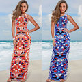 Foonee танк длинные dress Sexy Женщин рукавов Вечер Dress Boho Летний Пляж Длиной Макси Платья с принтом
