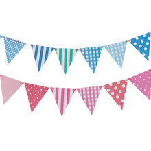 12PC Striped lattice Happy Birthday Babyshower Flags Decoration Garlands Bunting Party Wedding  Supplies Candy Bar Wreath все цены