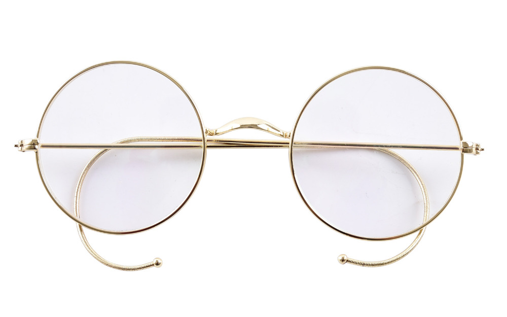 agstum 47mm round optical rare wire rim prescription harry potter style eyeglasses frame without nose pads