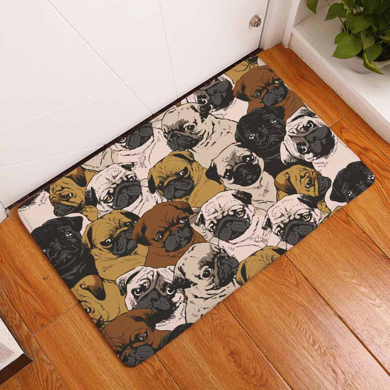 Small Bulldog Dog Animal Print Mat Anti-Slip Doormat Coral Fleece Entrance Carpets Rugs Decorative Stair Living Room Bedroom