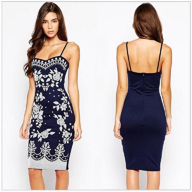 ca6e1f4c5f9a 2015 Navy Blue Spaghetti Strap Summer Style Dress Women Bodycon Midi Party  Dresses Ladies Floral Print Casual Pencil Dress 22135