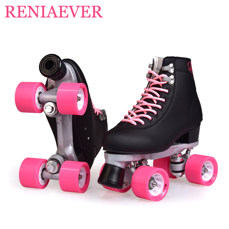 Double Row Roller Skates 4 Wheel Skates For Girls Aluminum Base Polyurethane PU90A Wheels Black PU Shoes Pink Wheels Shipping