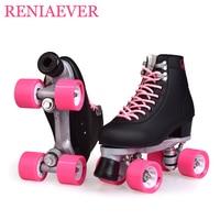 Double Row Roller Skates 4 Wheel Skates For Girls Aluminum Base Polyurethane PU90A Wheels Black PU Shoes Pink Wheels Shipping