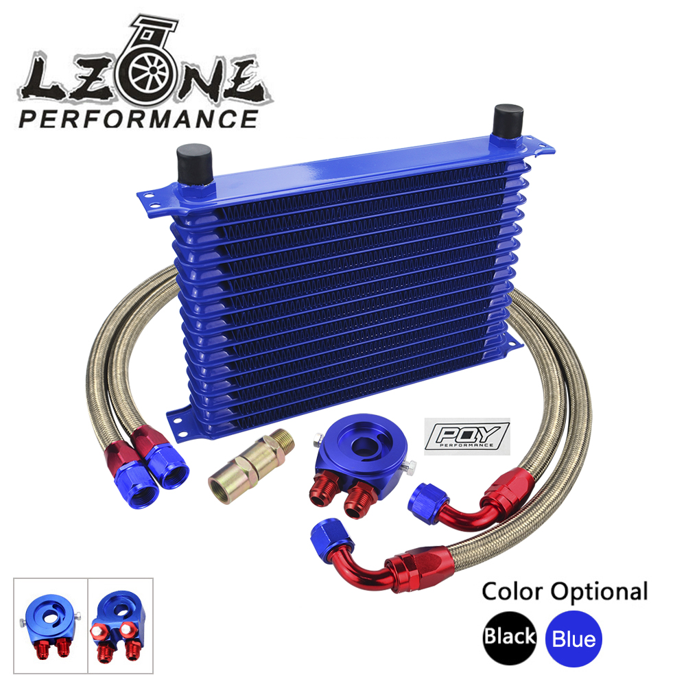 все цены на LZONE - UNIVERSAL 15 ROWS OIL COOLER KIT + oil filter sandwich adapter + NYLON STAINLESS STEEL BRAIDED OIL HOSE WITH PQY STICKER