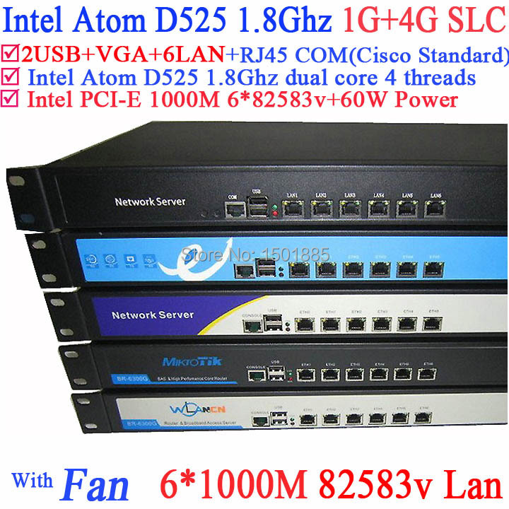 Serveur routeur Intel Atom D525 double Core 4 fils ROS PFSense avec 6 Ports LAN Rack Eears