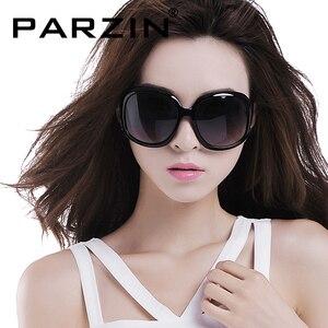 Image 1 - Parzin polarizado óculos de sol feminino retro óculos de sol marca design óculos grandes tons gafas de sol com caso 6216