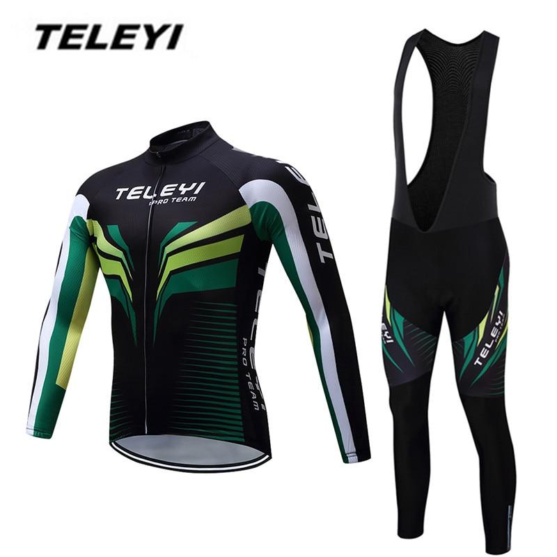 TELEYI MTB Bike jersey Bib Pants Set Men Cycling clothing Suit Ropa Ciclismo Maillot trouser Riding Long Sleeve Jacket Green