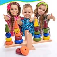 Montessori teaching aids balance scale baby balance game early education wooden puzzle children toys