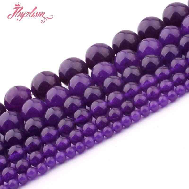 """4,6, 8,10, 12mm gładkie okrągłe kulki piłkę fioletowy jade kamień koraliki dla naszyjnik DIY bransoletka kolczyki biżuteria Making 15 """"darmowa wysyłka"""