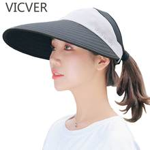 New Sun Hats For Women With Big Brim Beach Visor Cap Summer UV Protection Female Outdoor Caps Fashion Casual Wide Hat