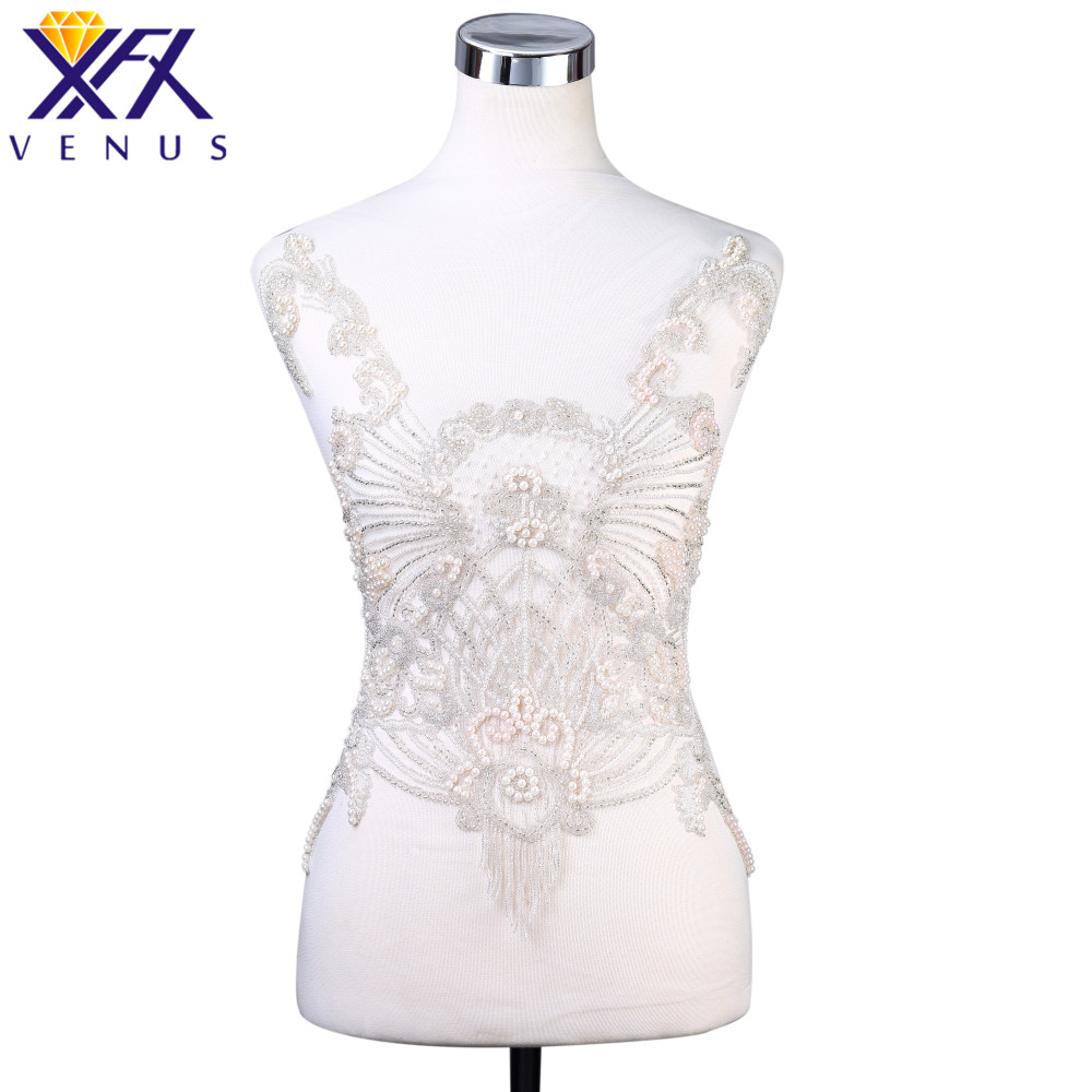 XFX VENUS 1 Set Pure Handmade Beaded Rhinestones Pearl Patch Embroidery Patch Beads Applique Fabric Patch