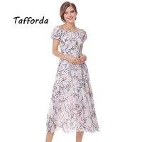 Tafforda 2017 סתיו חדש שיפון נשים שמלה Vestidos שמלות קיץ הדפסת פרחי צבע נשי שמלת התחרה Edge Trim