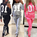 2017 Women Sweatshirts 2pcs/Sets Hoodies Pullover Tracksuits Long Sleeve Sweatshirt Slim Long Pants Casual Suits Spring Autumn