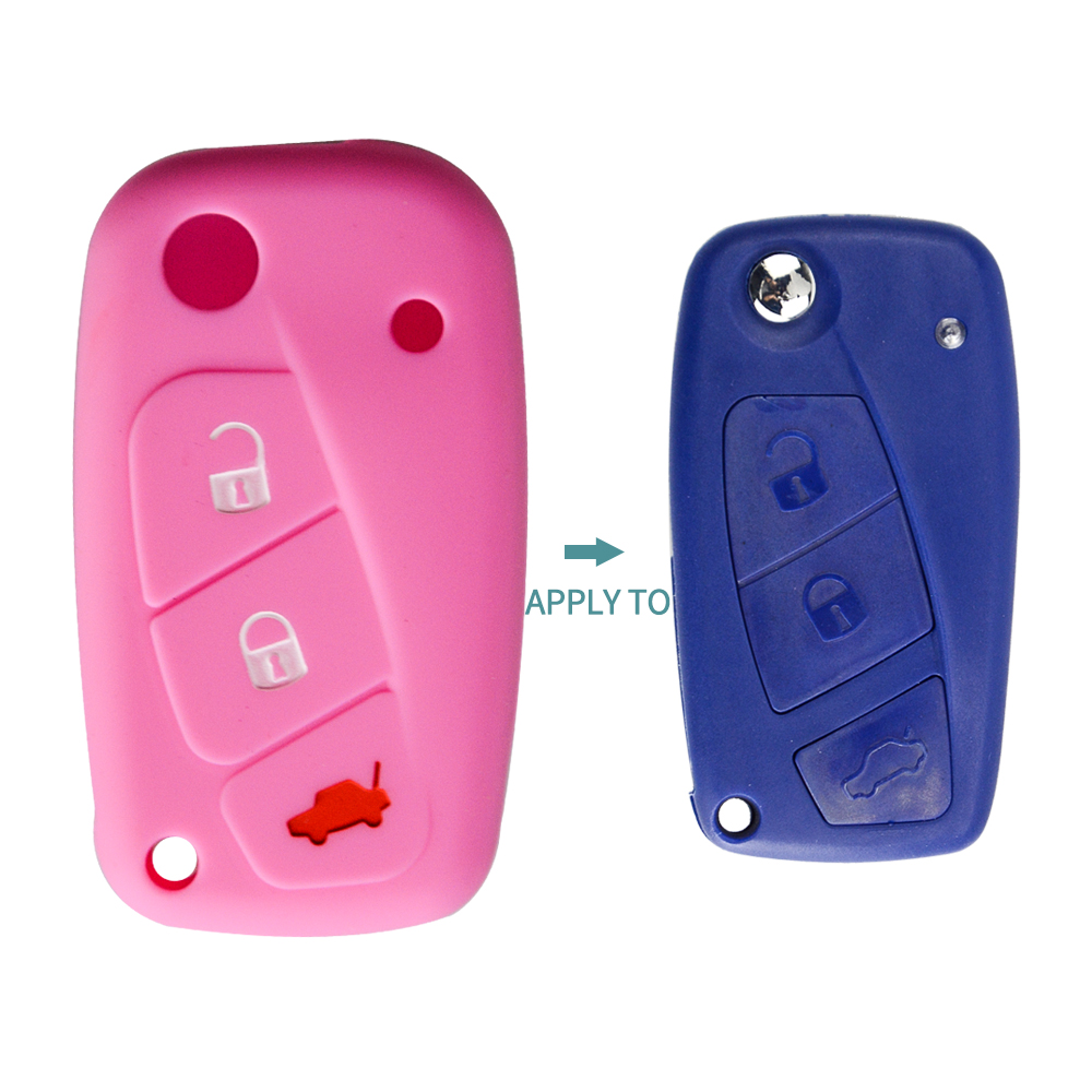 Image 4 - OkeyTech New Styling Colorful Silicone Key Cover for Fiat 500  Panda Stilo Punto Doblo Grande BravoDucato Folding Car Key Shell-in Key Case for Car from Automobiles & Motorcycles