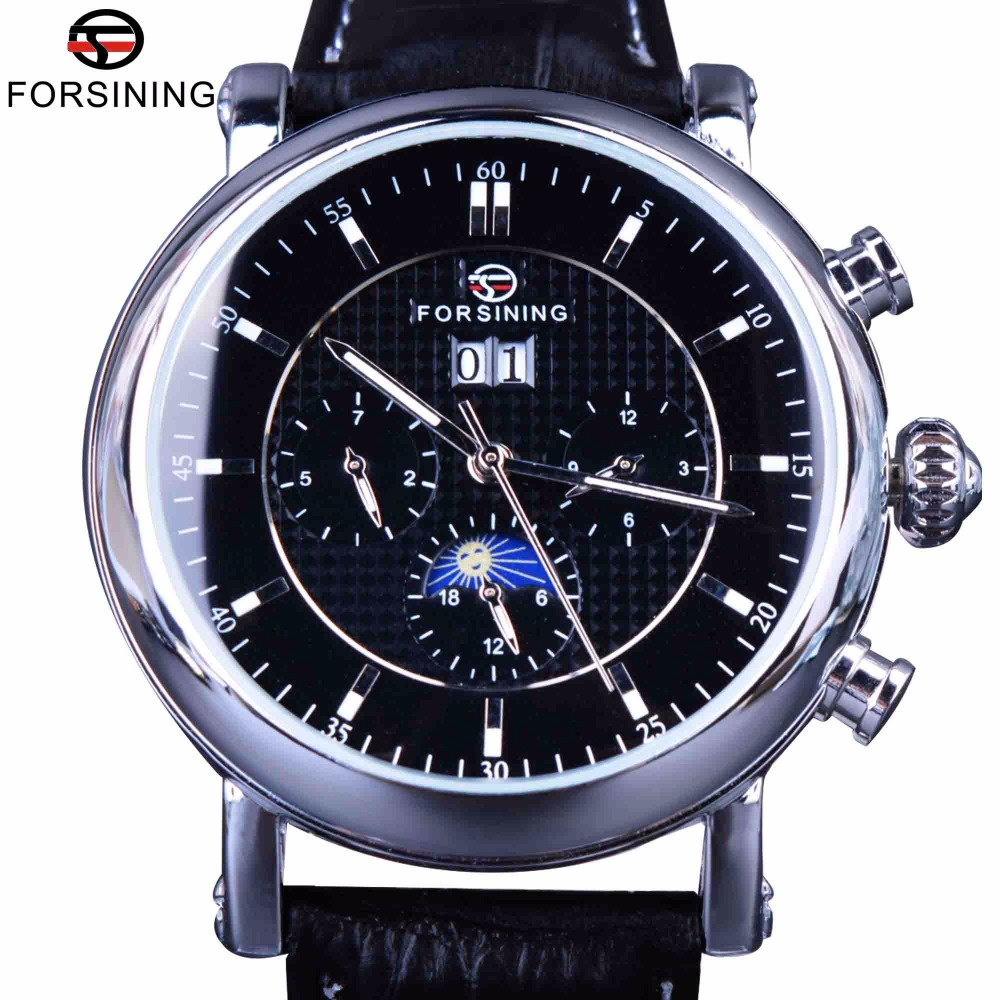 Forsining Luxury Casual Design Moonphase Calendar Display Mens Automatic Fashion Top Brand Luxury Mechanical Male Wrist Watches купить недорого в Москве