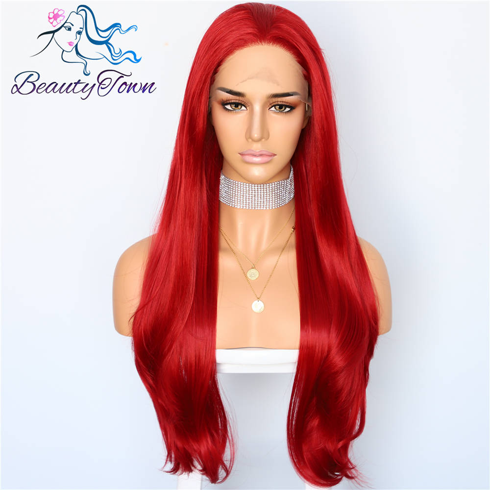 BeautyTown Red Natural Wave Type Heat Resistant Hand Tied Cosplay Women Masquerade Makeup Party Synthetic Lace Front Daily Wigs