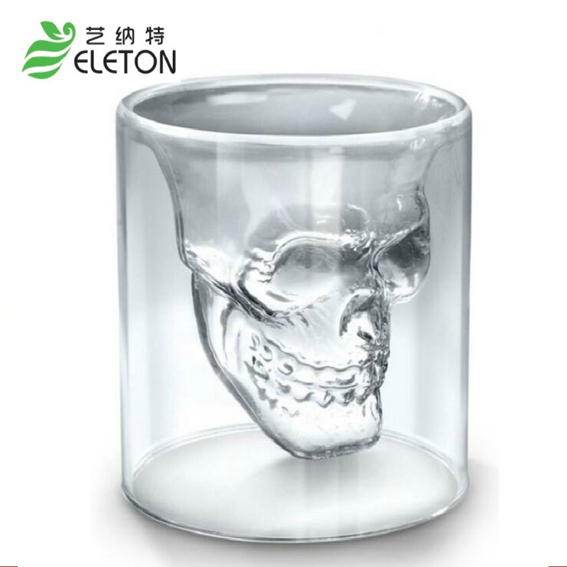 Skull Glass New Special Transparent <font><b>Crystal</b></font> Skull Head Shot Glass <font><b>Cup</b></font> For Whiskey Wine Vodka Home Drinking Ware Man Gift <font><b>Cup</b></font>
