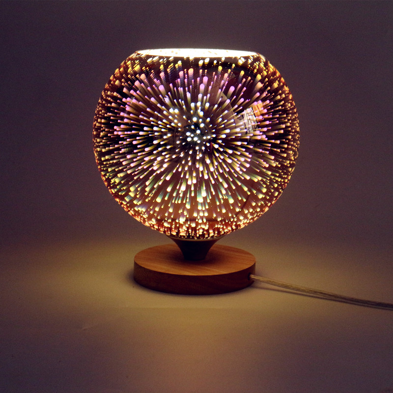 Modern table lamp wood base and colorful 3D glass lamp shade LED indoor light desk bed room Office table lamp