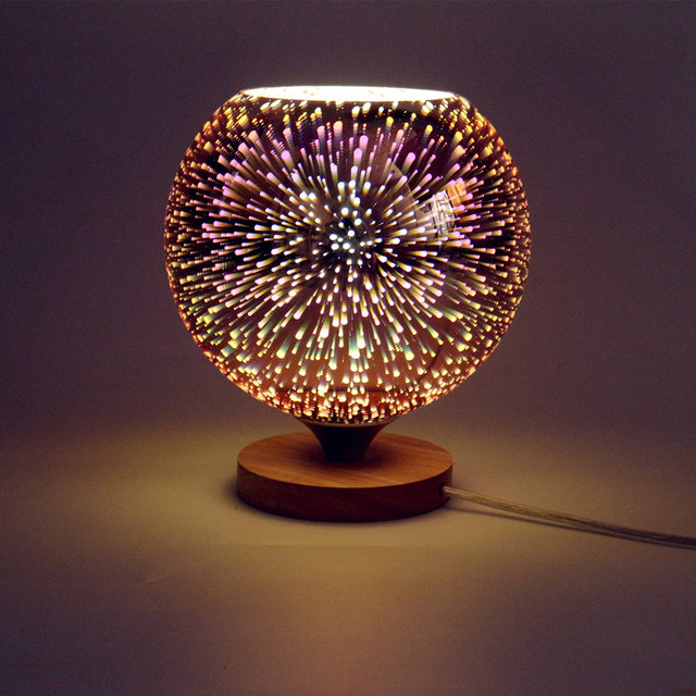 Modern table lamp wood base and colorful 3d glass lamp shade led modern table lamp wood base and colorful 3d glass lamp shade led indoor light desk bed aloadofball Image collections