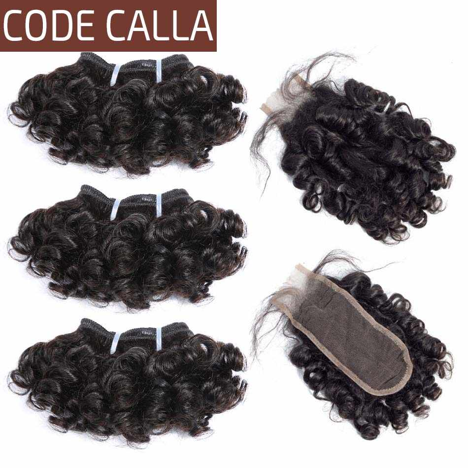 Code Calla Bouncy Curly Brazilian Remy Salon Human Hair Extensions 6 Bundles With KIM K Lace Closure High Ratio 45% Double Drawn