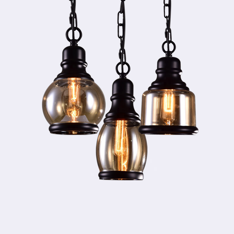 Loft Industrial Chain Pendant Lights Vintage Edison Handlamp Dinning room Lamps Glass Shades led luminaria AC110-240V Indoor vintage edison pendant lamps with one head which height could be adjusted best matching indoor dinning room living room bed room