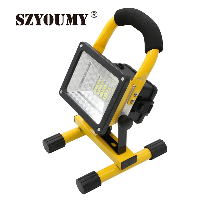 SZYOUMY 2400Lm Portable Floodlight Led Rechargeable Flood light IP65 Outdoor Lighting Lamp For Outdoor Activities Reflector Led