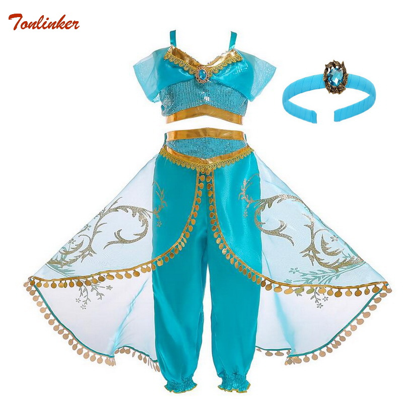 Kids Girls Princess Jasmine Costumes For Children Party Belly Dance Dress Indian Costume Halloween Christmas Party Cosplay 3-10T
