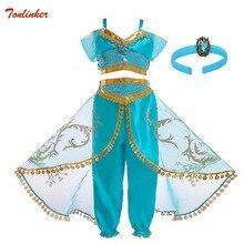 Ragazze dei capretti Della Principessa Jasmine Costumi Per I Bambini Del Partito di Vestito Da Ballo di Pancia Indiano Costume di Halloween Di Natale Del Partito di Cosplay 3 10 T